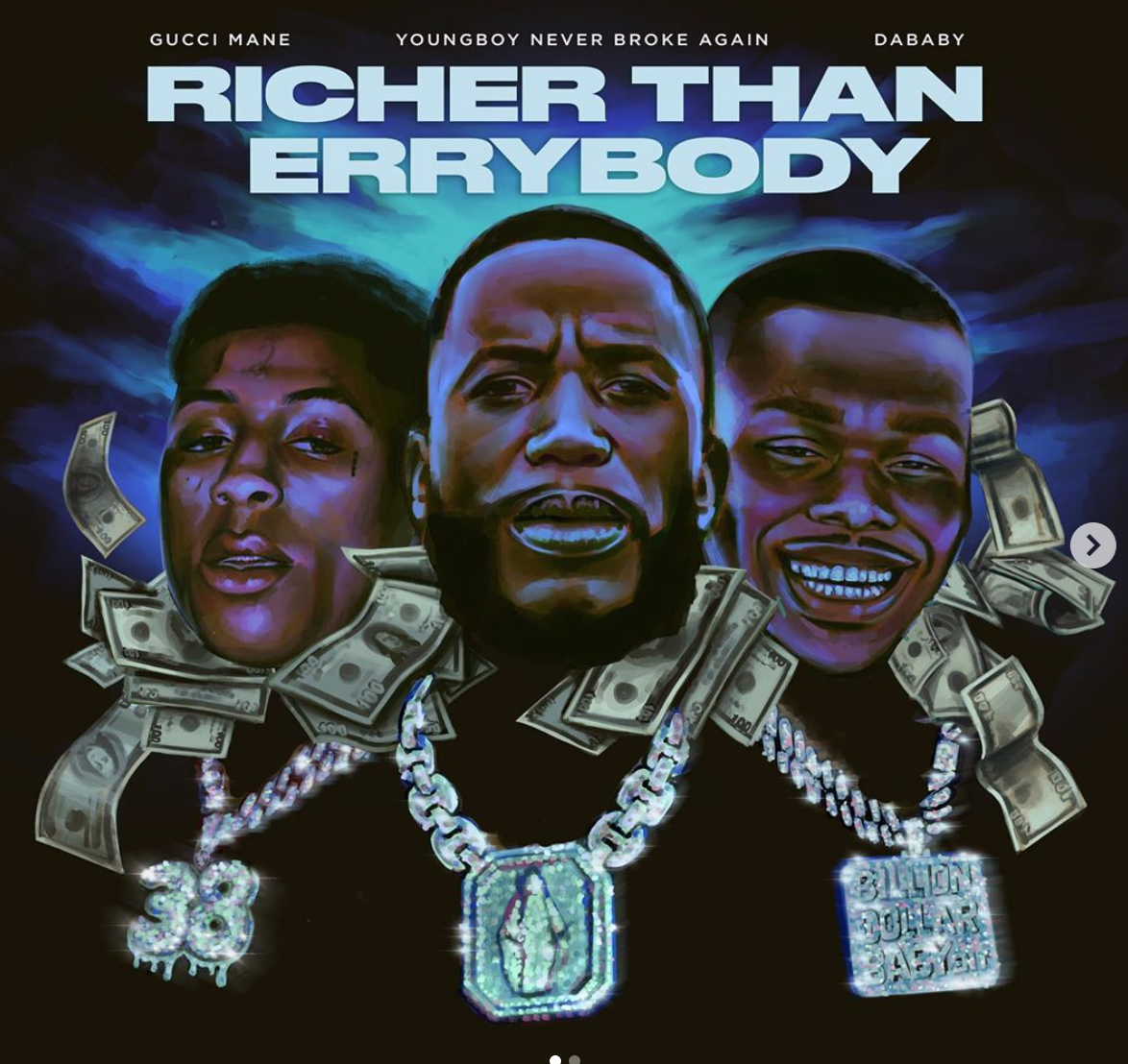 """Gucci Mane Releases New Single """"Richer Than Errybody"""" Featuring NBA Youngboy & Da Baby! [LISTEN]"""