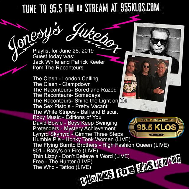 Jack White & Patrick Keeler on Jonesy's Jukebox 6/26/19