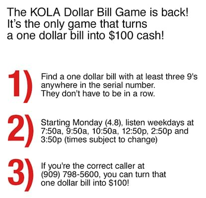 KOLA Dollar Bill Game!