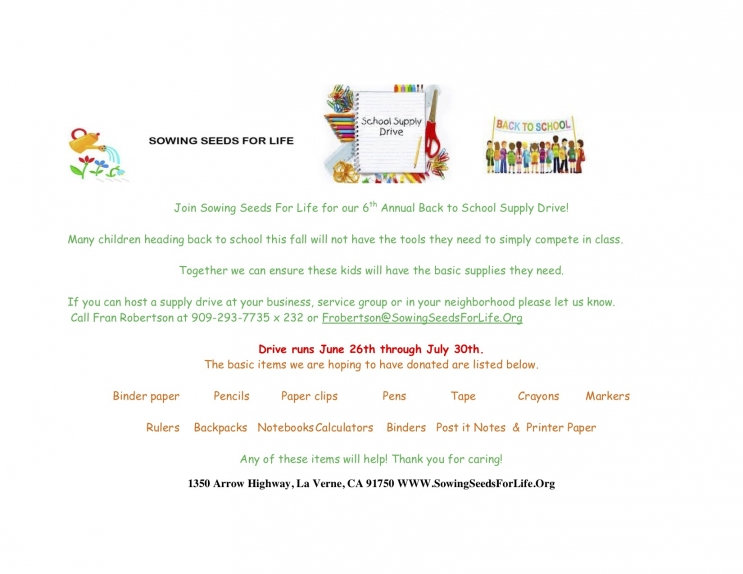 6/26-7/30 Sewing Seeds For Life/ Back to School Drive